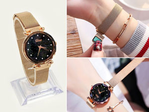 Luxury Magnetic Strap Ladies Watch - Golden Price in Pakistan