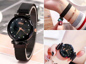 Luxury Magnetic Strap Ladies Watch - Black Price in Pakistan
