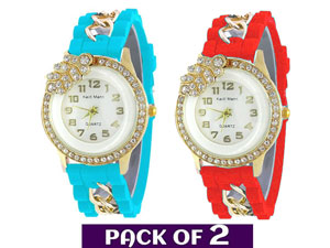 Pack of 2 Rubber Strap Watches for Girls Price in Pakistan