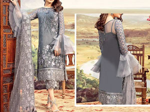 Embroidered Chiffon Grey Party Dress with Chiffon Dupatta