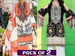 Pack of 2 Embroidered Lawn Dresses Price in Pakistan