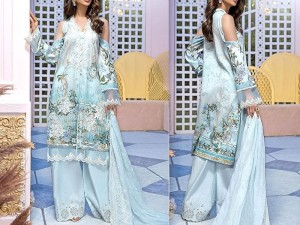 Heavy  Embroidered Lawn Suit with Chiffon Dupatta