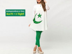 Independence Day Kurti White with Tight