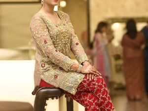 Heavy Embroidered Chiffon Wedding Dress with Embroidered Trouser Price in Pakistan