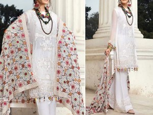 Elegant White Chiffon Party Dress with Phulkari Dupatta