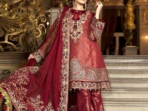 Heavy Embroidered Organza Dress with Jamawar Trouser Price in Pakistan