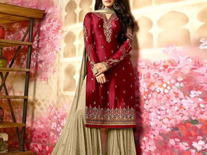 Embroidered Silk Chiffon Wedding Dress with Embroidered Chiffon Dupatta Price in Pakistan