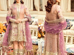 Heavy Handwork Embroidered Chiffon Bridal Dress