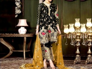 Heavy Embroidered Black Net Dress with Embroidered Net Dupatta