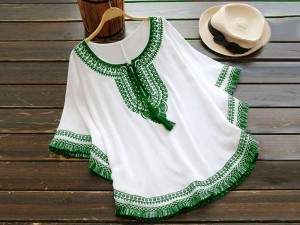 Independence Day Embroidered Boski Linen Butterfly Poncho Top Price in Pakistan