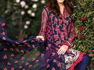 Designer Embroidered  Blue Chiffon Dress with Embroidered Dupatta