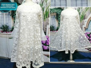 Designer Embroidered Ready-to-Wear White Organza Frock Price in Pakistan