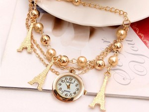 Eiffel Tower Charm Bracelet Watch for Girls