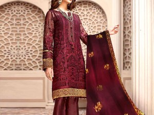 Heavy Embroidered Chiffon Party Dress with Chiffon Dupatta Price in Pakistan