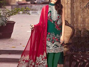 Heavy Embroidered Green Net Dress with Embroidered Dupatta