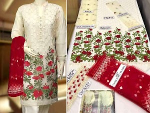 Elegant Embroidered Net Dress with Embroidered Dupatta Price in Pakistan