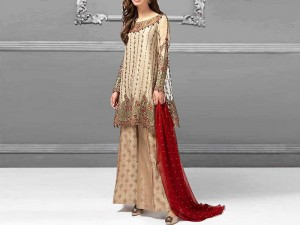 Heavy Embroidered Chiffon Wedding Dress in Pakistan