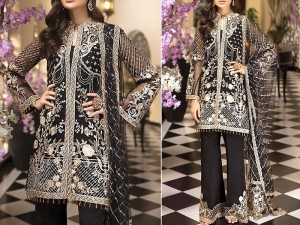 Heavy Embroidered Black Organza Dress with Net Dupatta Price in Pakistan