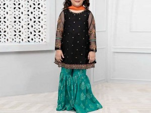 Kids 2-Pcs Embroidered Black Linen Suit Price in Pakistan