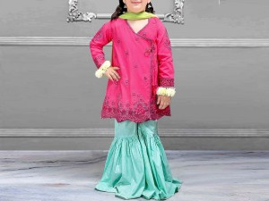 Kids 2-Pcs Embroidered Pink Linen Dress Price in Pakistan
