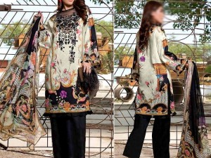 Embroidered Linen Dress with Chiffon Dupatta Price in Pakistan