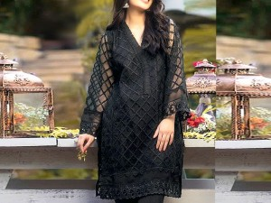 Unstitched Black Heavy Embroidered Net Kurti Price in Pakistan