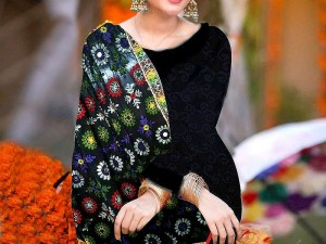 Embroidered Black Chiffon Suit with Phulkari Embroidered Dupatta Price in Pakistan