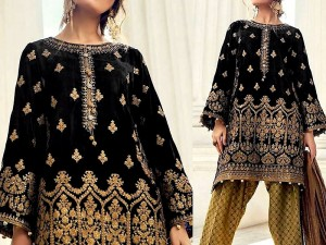 Embroidered Black Velvet Dress with Jamawar Trouser Price in Pakistan
