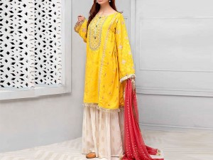 Embroidered Yellow Linen Dress with Linen Dupatta Price in Pakistan