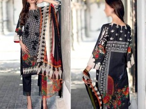 Embroidered Black Linen Dress with Linen Dupatta Price in Pakistan