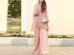 Heavy Embroidered Net Bridal Dress with Jamawar Trouser Price in Pakistan