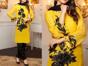 Trendy 2-Pcs Embroidered Yellow Linen Dress Price in Pakistan
