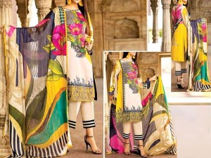 Vibrant Embroidered Linen Suit with Wool Shawl Dupatta
