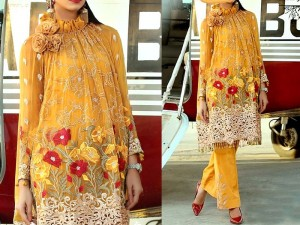 Heavy Embroidered Linen Suit with Chiffon Dupatta Price in Pakistan