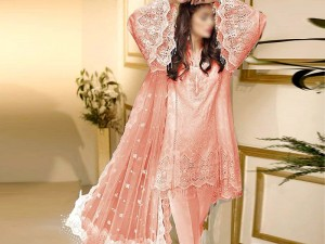 Elegant Peach Embroidered Chiffon Wedding Dress Price in Pakistan