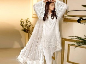 Elegant White Embroidered  Chiffon Wedding Dress  Price in Pakistan