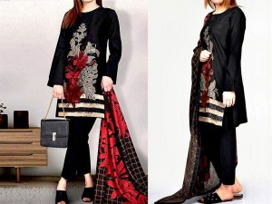 Elegant Embroidered Black Linen Dress with Wool Shawl Dupatta