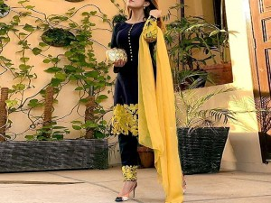 Heavy Embroidered Black Linen Dress with Embroidered Chiffon Dupatta Price in Pakistan