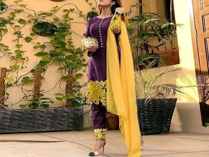 Heavy Embroidered Purple Linen Dress with Embroidered Chiffon Dupatta Price in Pakistan