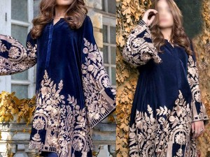Heavy Embroidered Handwork Navy Blue Velvet Dress