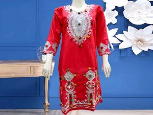 Embroidered Red Cotton Kurti for Girls Price in Pakistan