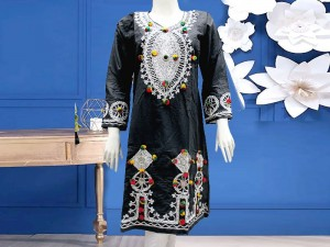 Embroidered Black Cotton Kurti for Girls