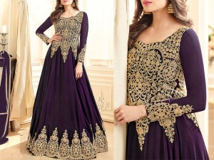 Indian Embroidered Purple Chiffon Maxi Dress