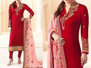 Embroidered Red Chiffon Party Dress Price in Pakistan