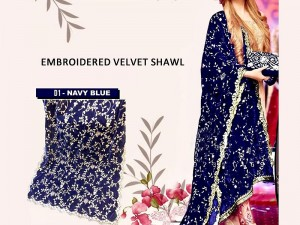 Heavy Embroidered Velvet Shawl - Navy Blue