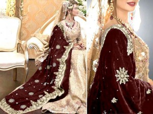 Heavy Embroidered Bridal Velvet Shawl - Brown Price in Pakistan