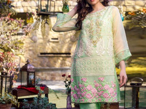 Embroidered Organza Party Dress with Net Dupatta