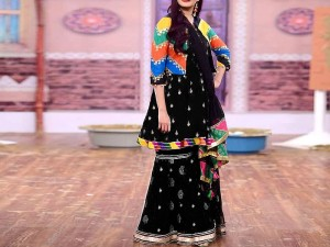 2-Pcs Embroidered Black Linen Dress with Embroidered Trouser Price in Pakistan