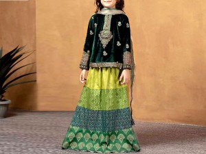 Kids 2-Pcs Embroidered Velvet Dress with Jamawar Lehenga Price in Pakistan