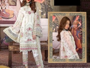 Heavy Embroidered White Chiffon Wedding Dress Price in Pakistan